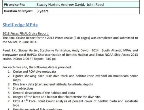 Semi‐Annual Report – South Atlantic Shelf‐edge MPAs and Deep‐water Coral HAPCs Summary of Accomplishments to Date